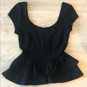 Lucca Couture Crochet Peplum Top Size S